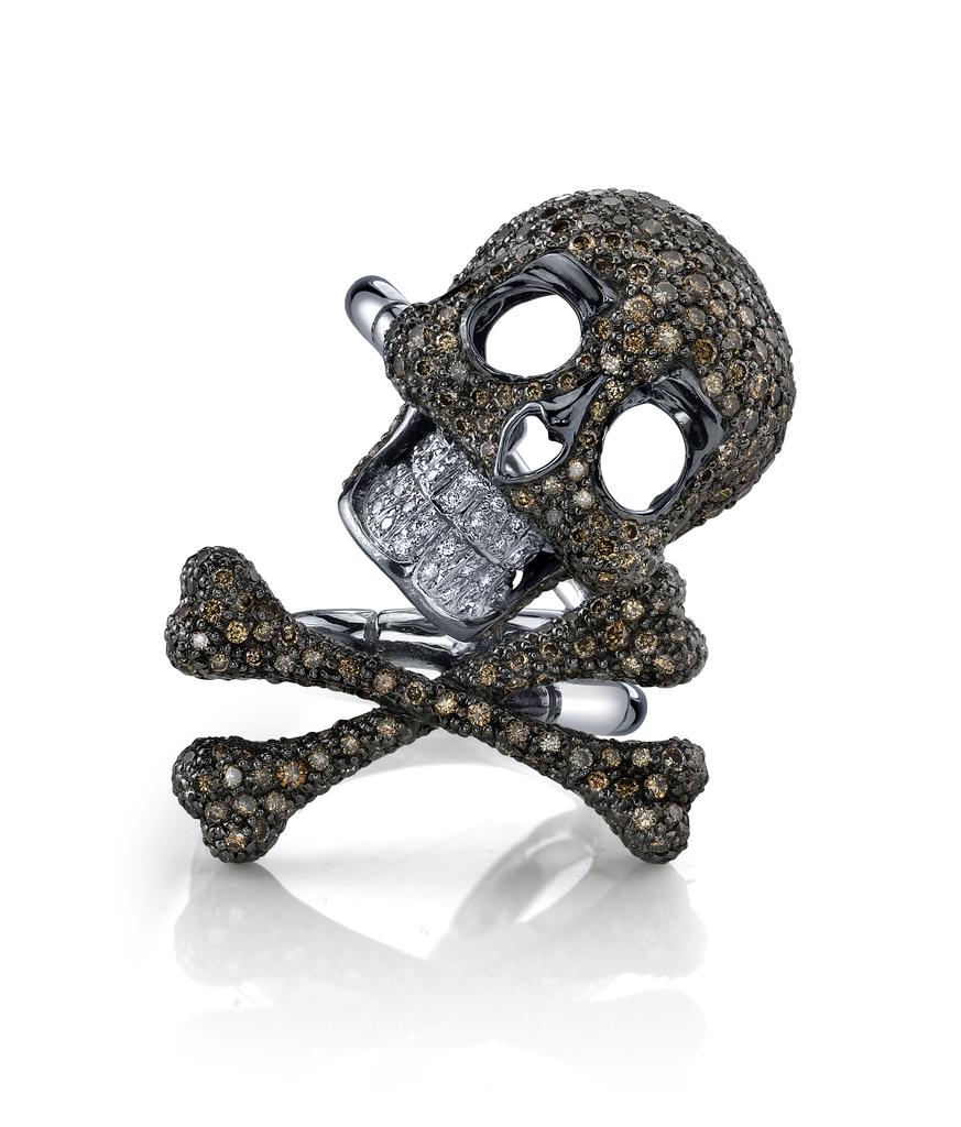 Women's Rings 18K WG Skull & Crossbone DoubleShank Ring w/ Brown DiamondsRhodium GoldBR DI 1.50   BR DI .68WH DI .11
