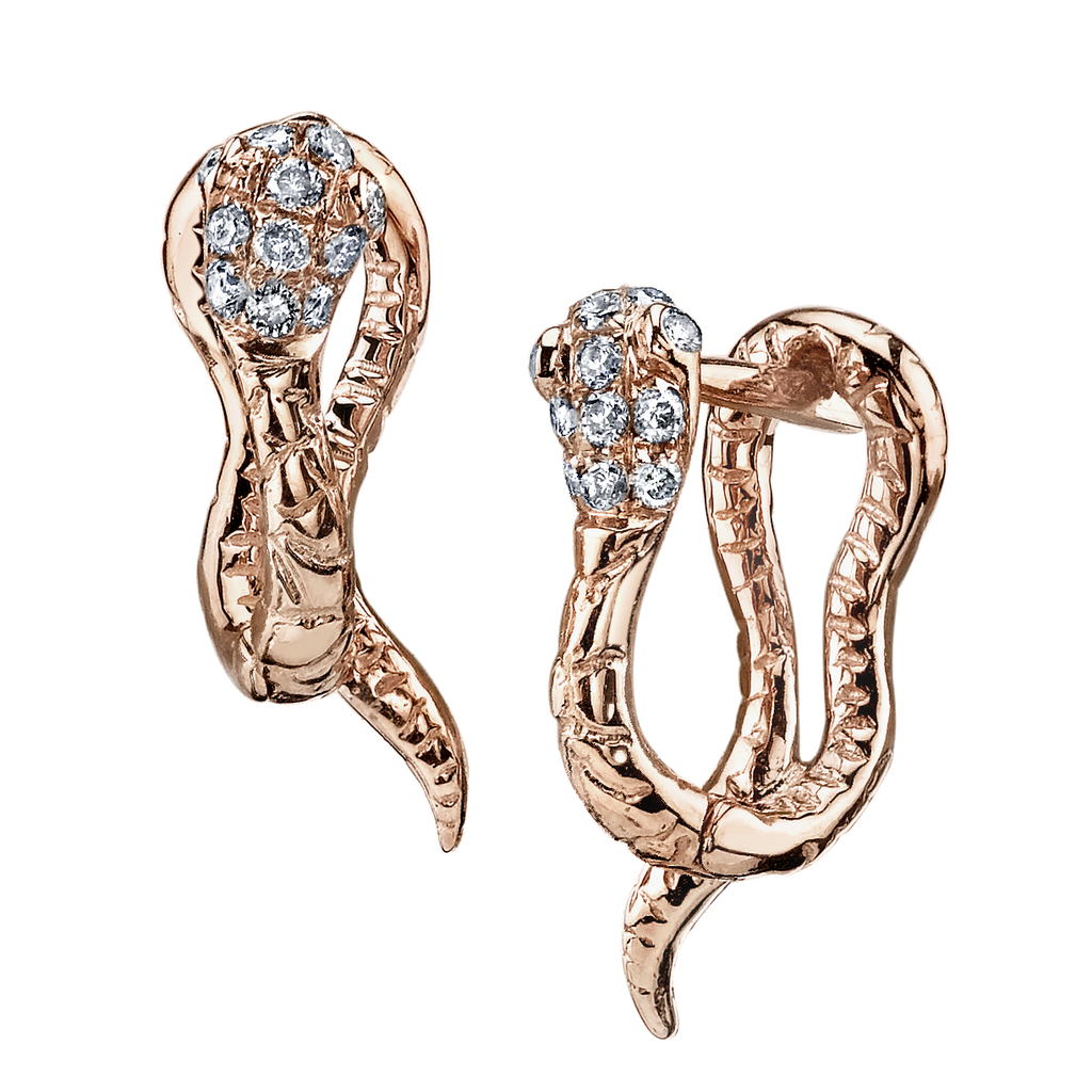 18K Rose Gold, Brown Diamond Snake Huggies.15cts  brown diamond.02cts  diamond