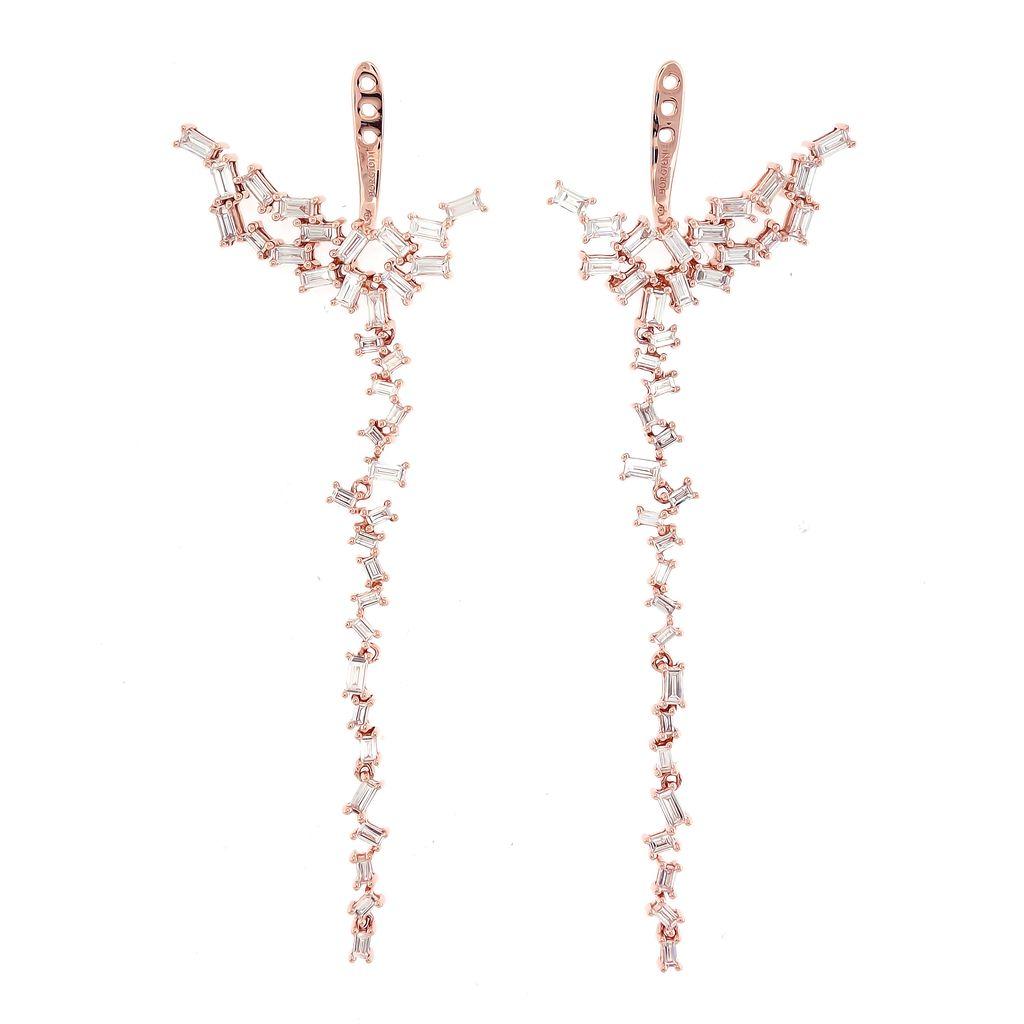 18K Rose Gold Diamond Baguette Chandelier Ear Jackets<br /> 2.05cts. baguettes