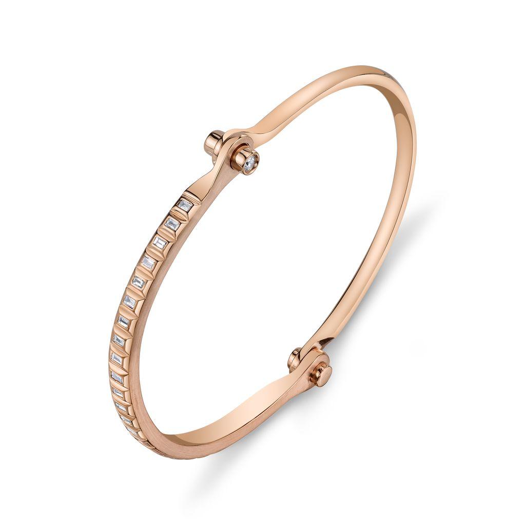 18K Rose Gold Baguette  Diamond Handcuff<br />.62 cts. baguettes