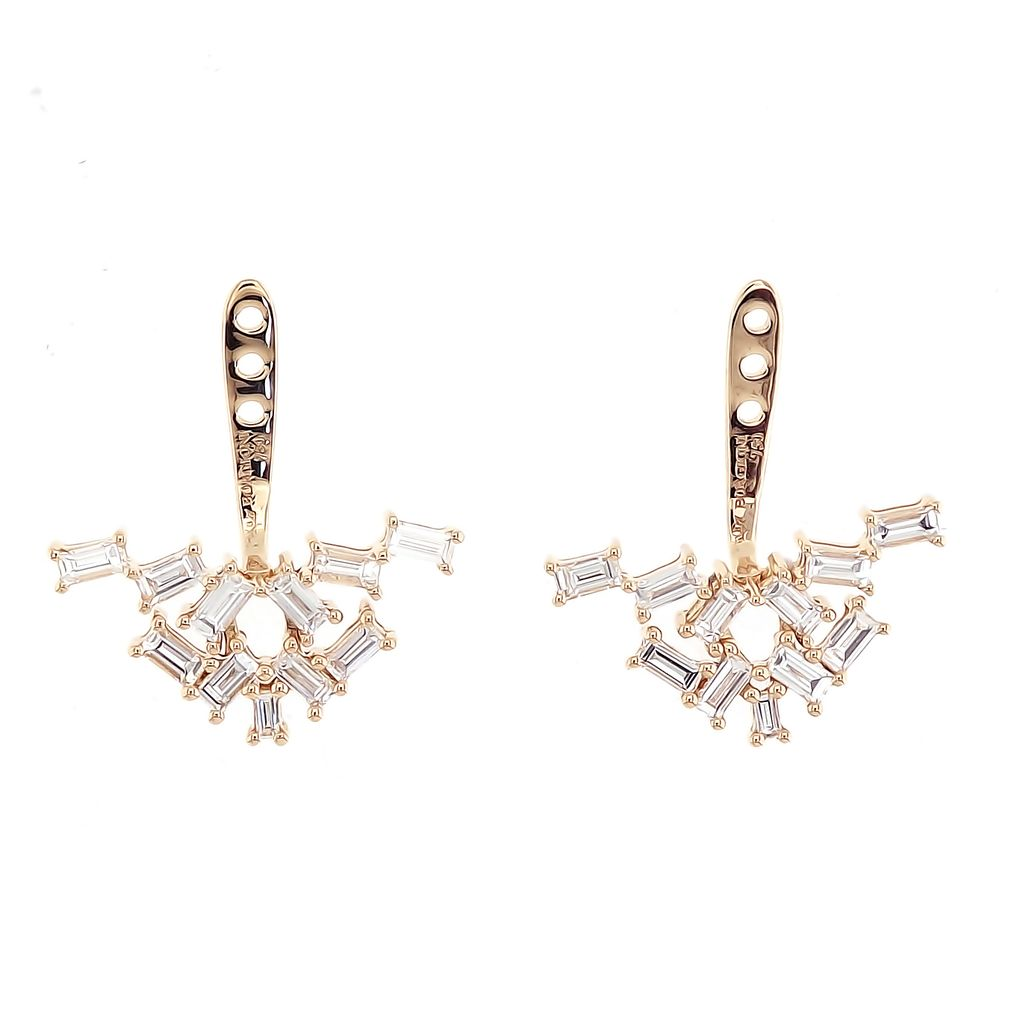 18K Yellow Gold Diamond Baguette Cluster Ear Jackets<br /> 1.03cts. baguettes