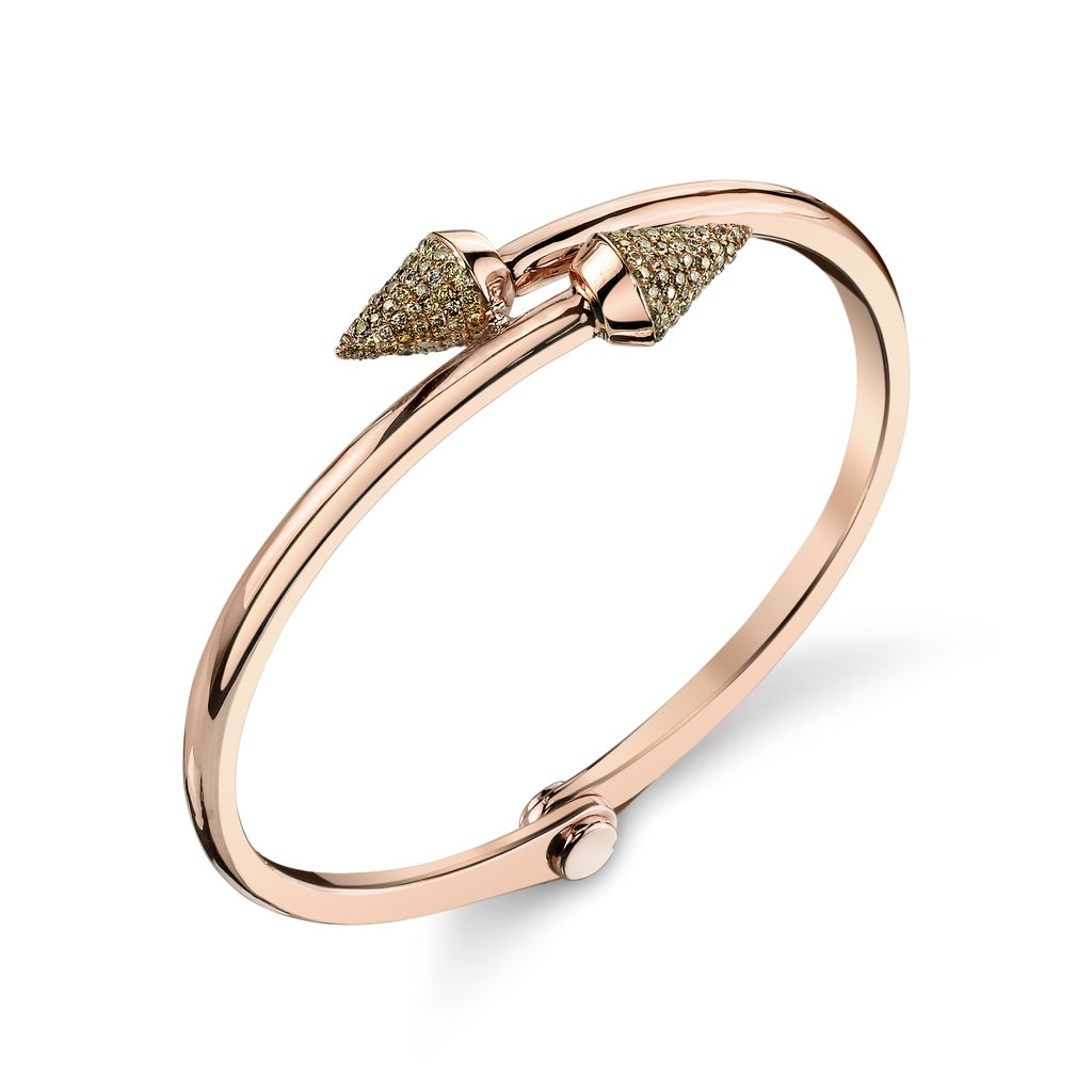 18K Rose Gold, Pave Brown Diamond Small Spike Handcuff<br />
