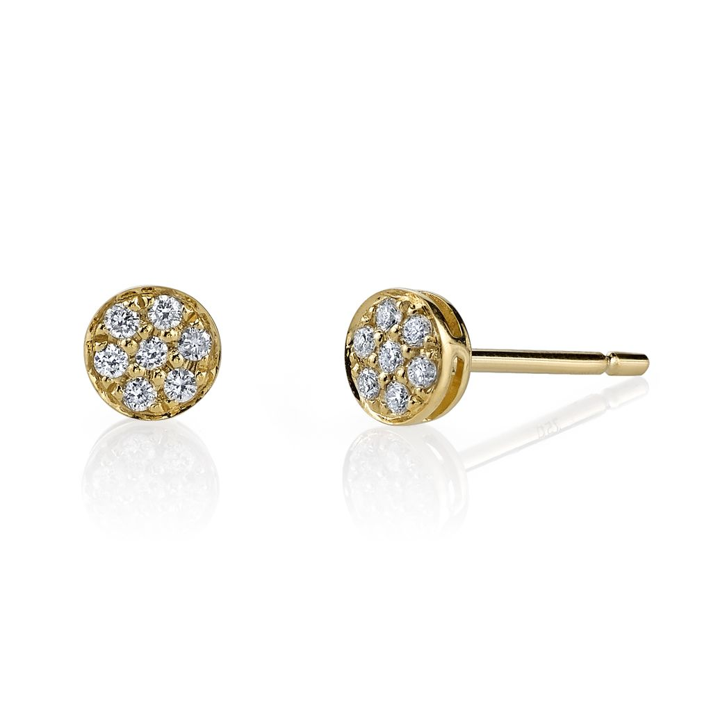 18K Yellow Gold, Small Pave Diamond Rose Cut Studs<br />