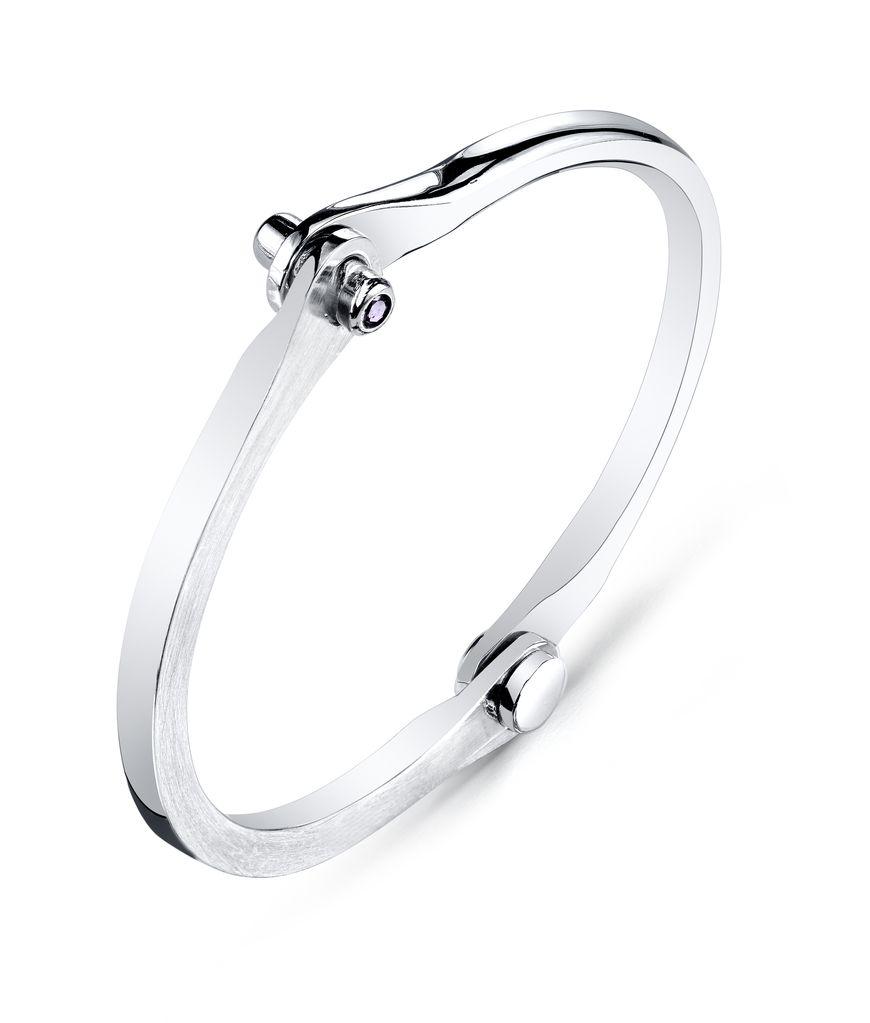 Men's Silver Oxidized Handcuff w/ Onyx Studs<br />.20 cts. Black Onyx<br />Size 3