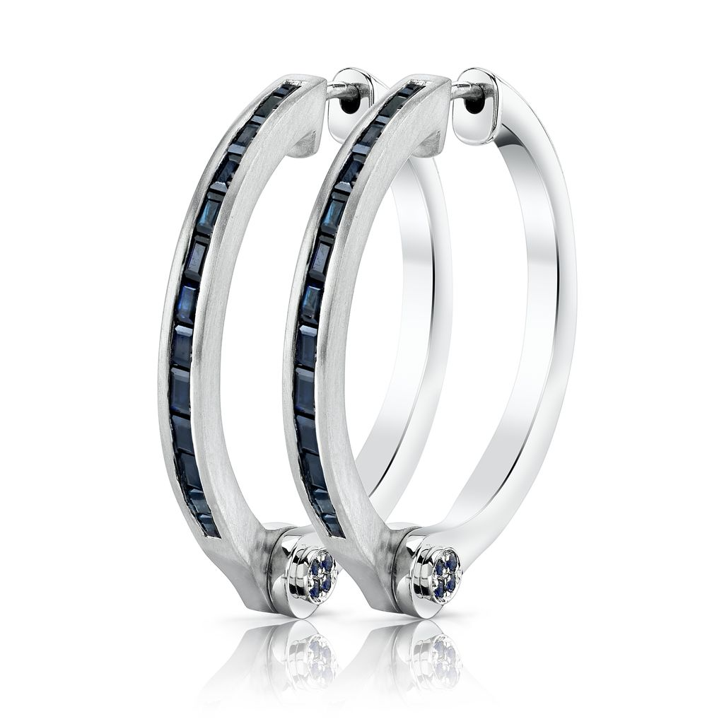 18K White Gold Blue Sapphire Baguette Handcuff Hoop Earrings<br />