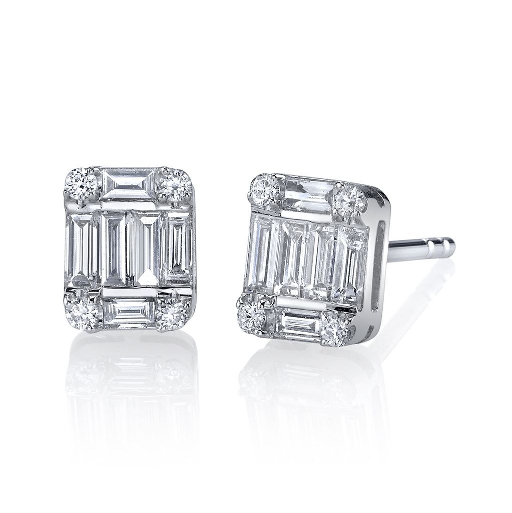 18K White Gold, Diamond Baguette Single Stud Earrings<br /> .39cts diamond baguette