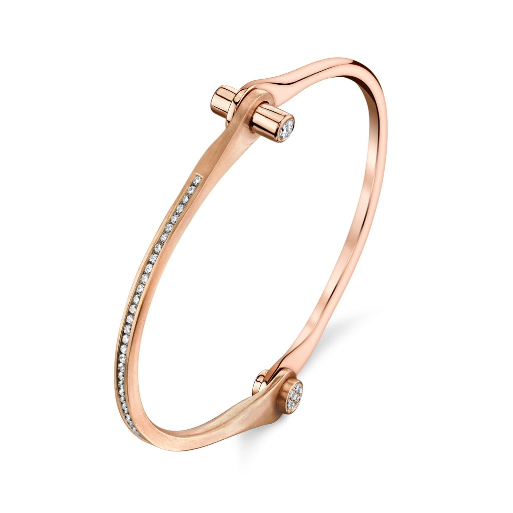 18K Rose Gold Pave Skinny Handcuff w/ White Diamonds<br />