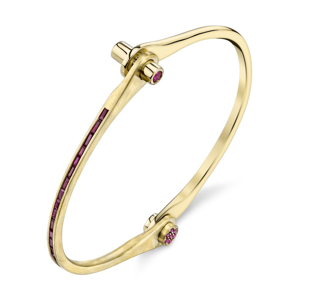 18K Yellow Gold Skinny Handcuff w/Ruby Baguettes<br />