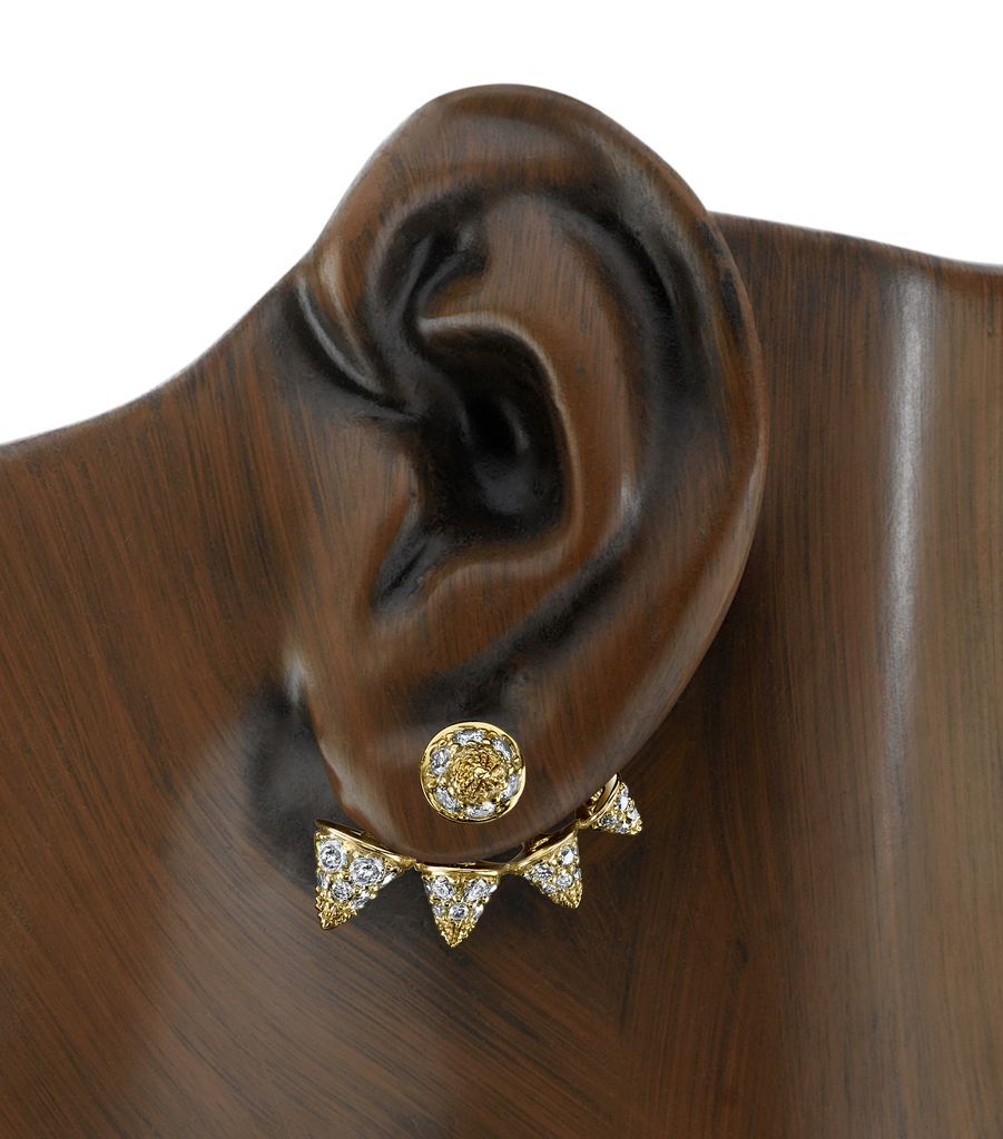 18K Yellow Gold, Pave Diamond Spike Stud &amp; Earjacket<br />.64cts diamonds