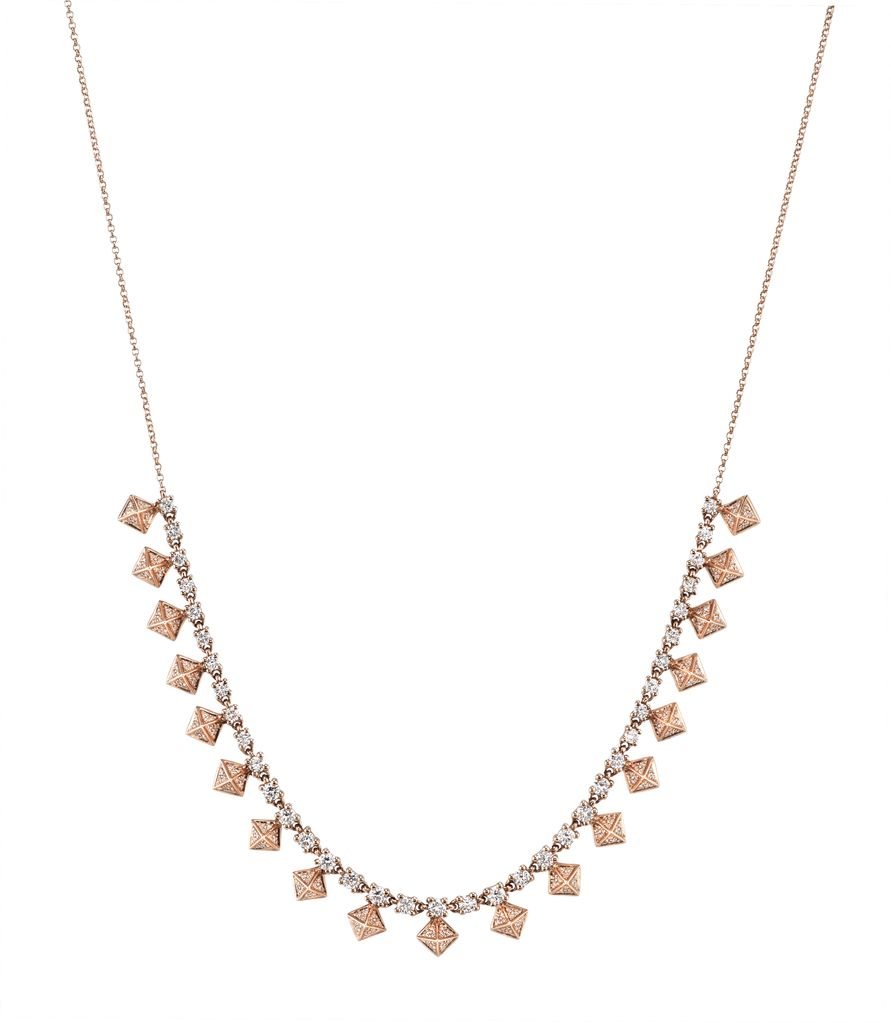 18K Rose Gold Pave Diamond Pyramid Choker<br />