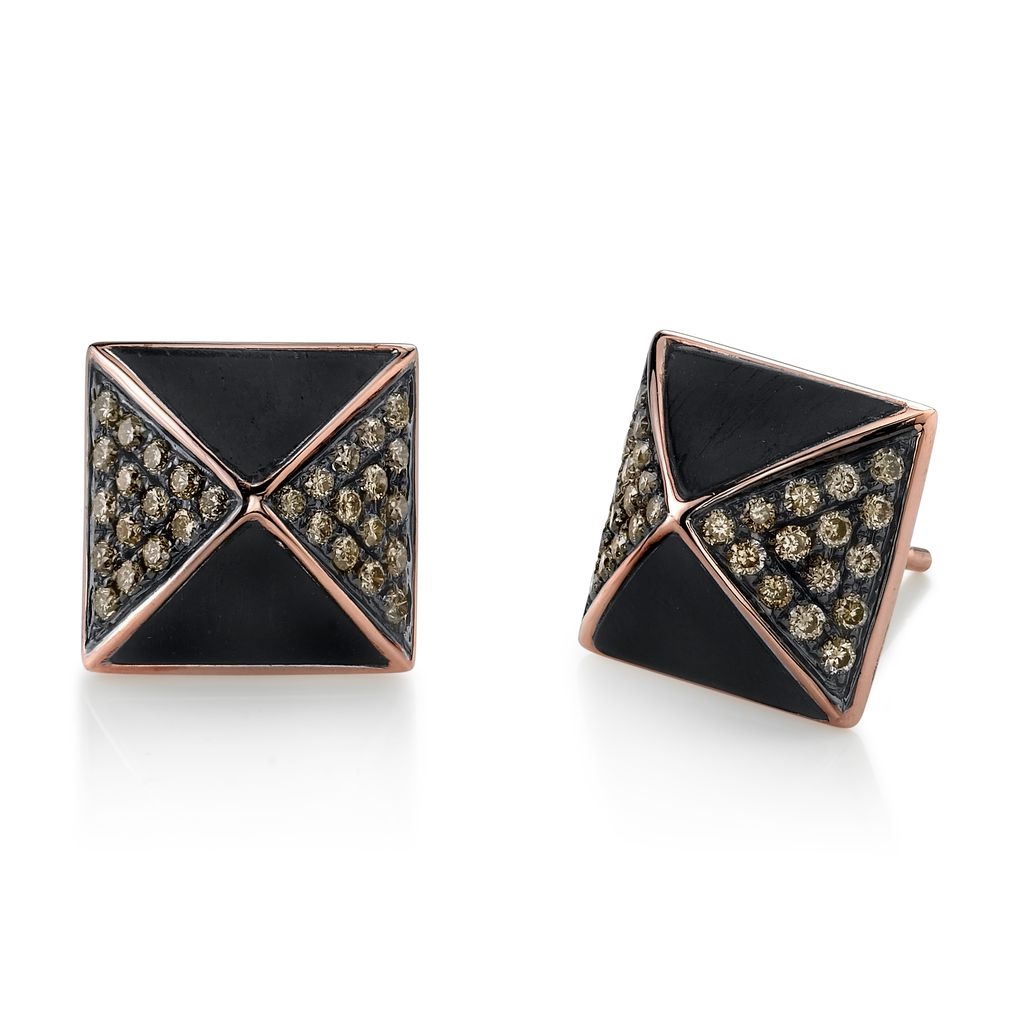 18K Rose &amp; Black Rhodium Gold, Pave Brown Diamond Ebony Wood Pyramid Stud Earrings<br />