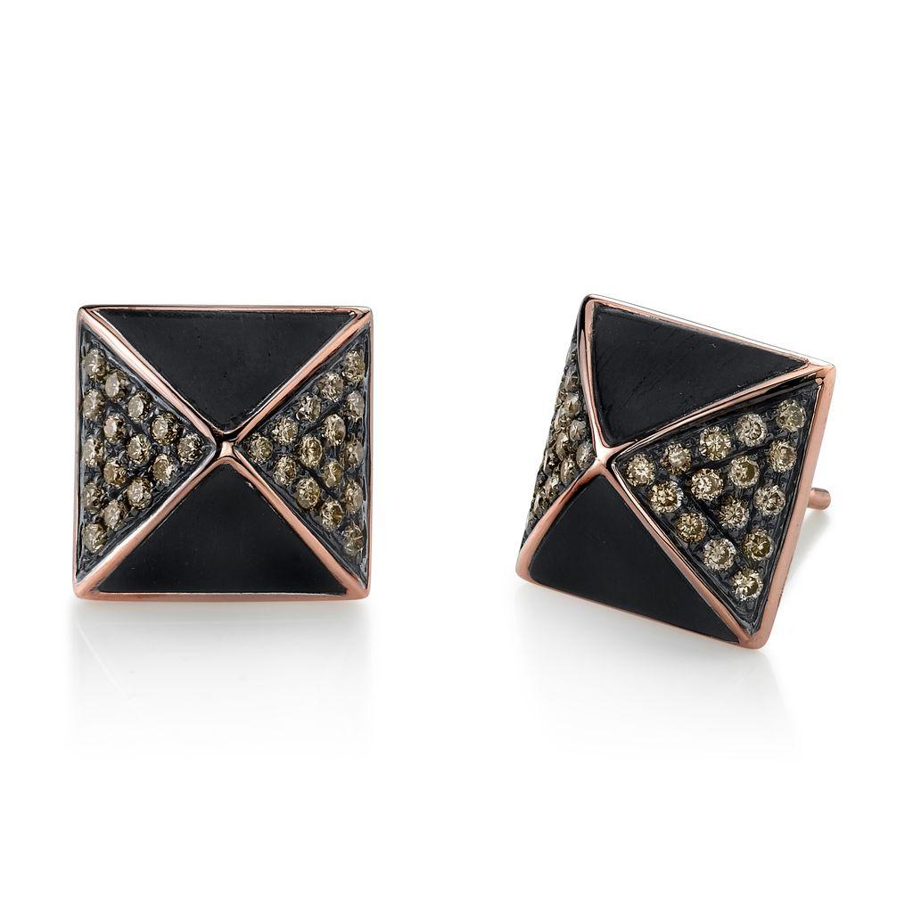 18K Rose & Black Rhodium Gold, Pave Brown Diamond Ebony Wood Pyramid Stud Earrings<br />.61 cts. brown diamonds