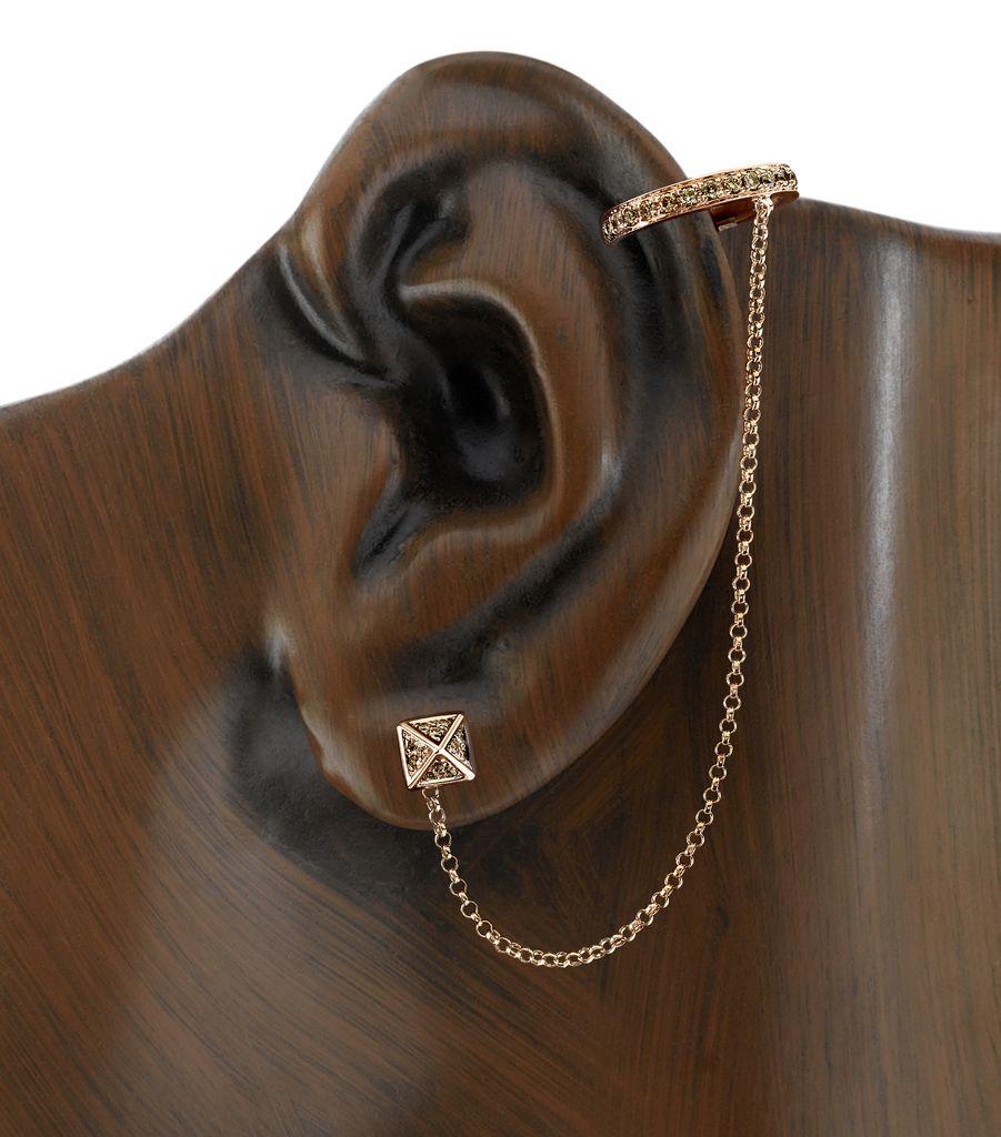 18K Rose Gold, Brown Diamond Pyramid Chain Earcuff<br />.72cts brown diamonds