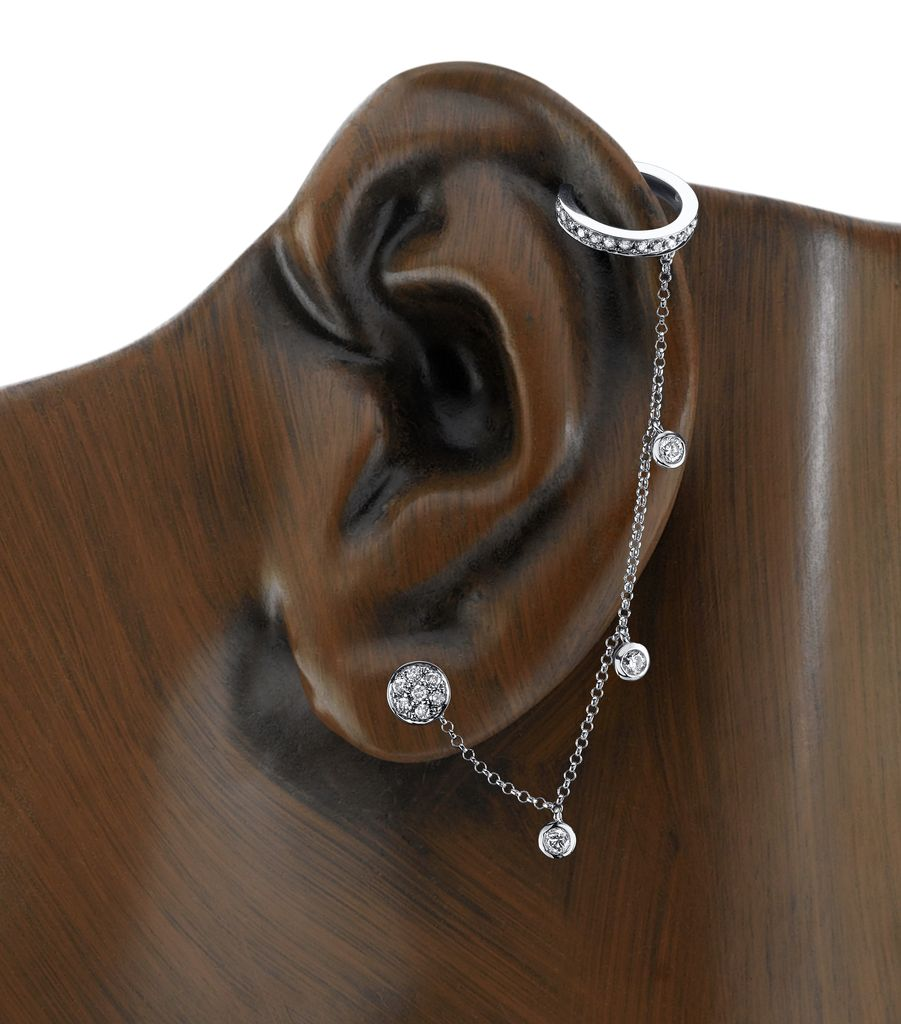 18K White Gold, Rosecut  Diamond  Chain Earcuff<br />