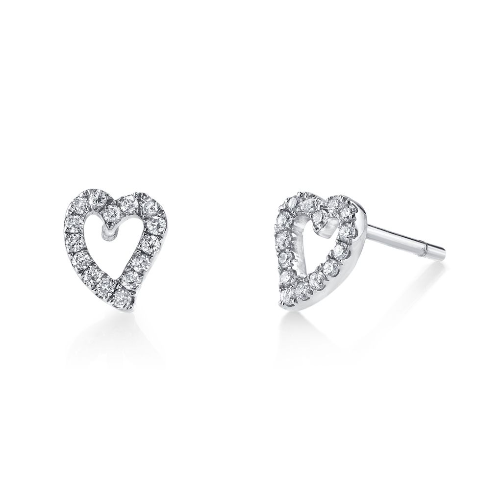18K White Gold, Small Pave Diamond Heart Studs<br />