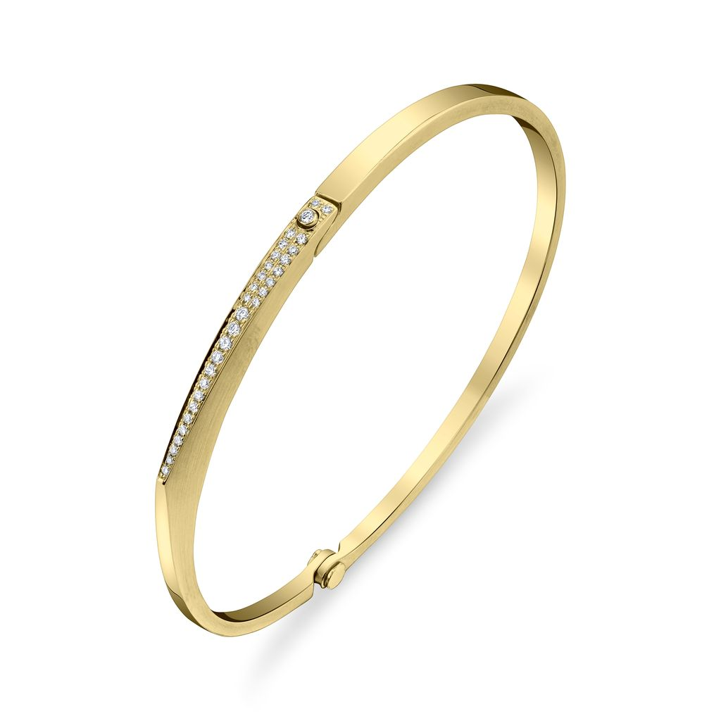 "18K Yellow Gold, Pave Diamond Skinny ""V"" Cuff<br />