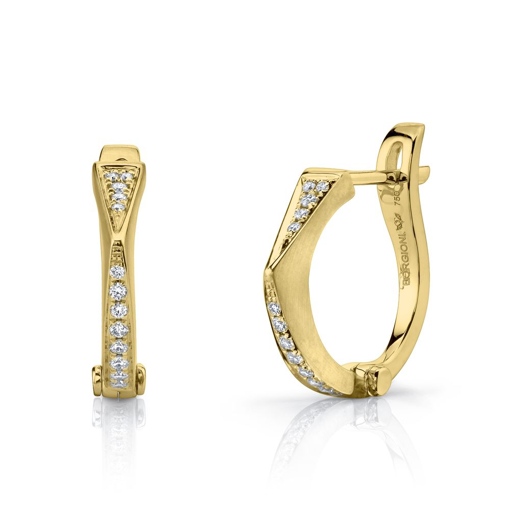 "18K Yellow Gold Diamond ""V"" Huggies<br />