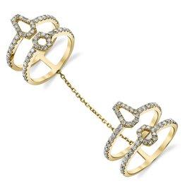 Diamond Hex Double Chain Ring