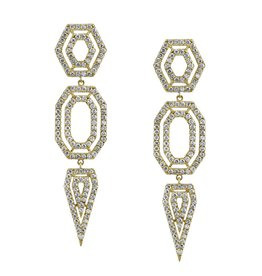 Diamond Hex Drop Earrings