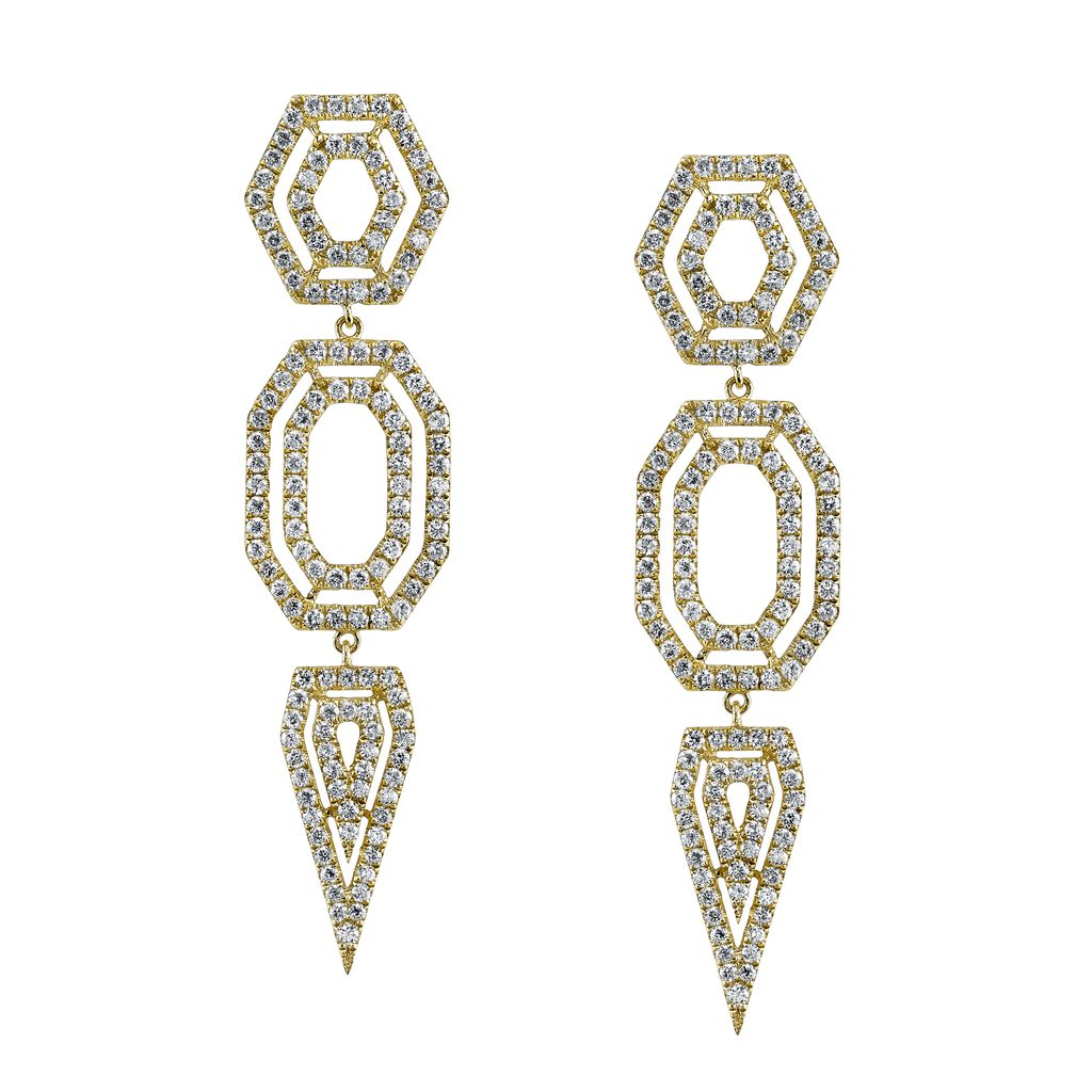 18K Yellow Gold, Pave Diamond Hexagon Drop Earrings<br />