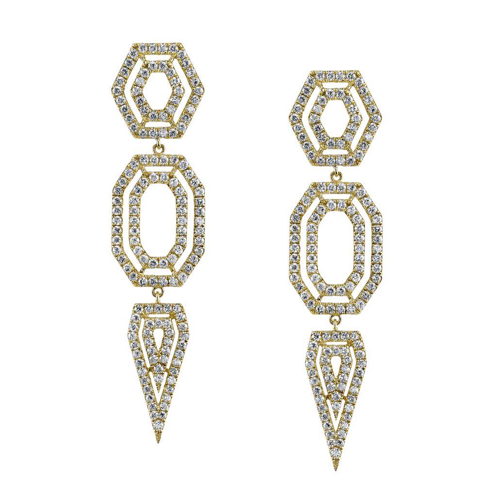 18K Yellow Gold, Pave Diamond Hexagon Drop Earrings<br />3.27cts  diamonds