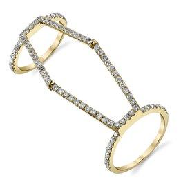 Diamond Hex Double Ring