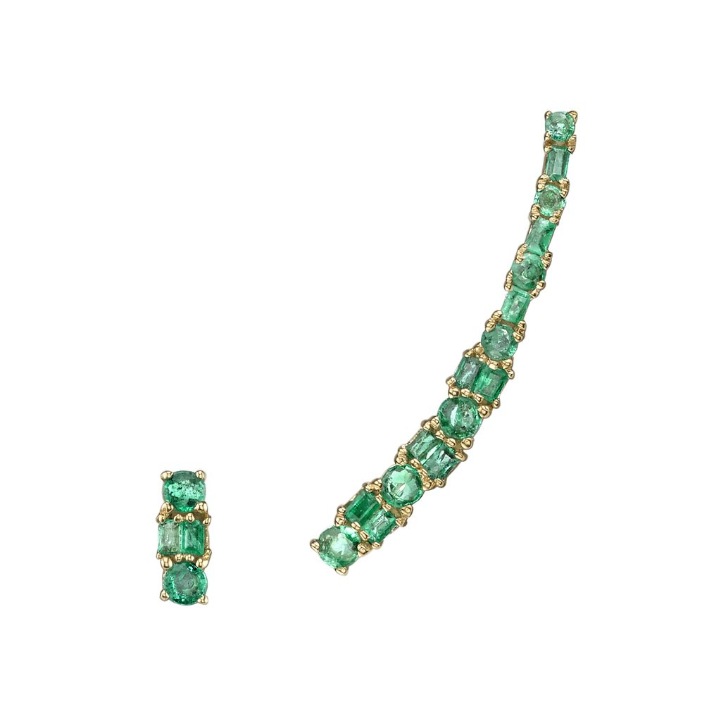 18K Yellow Gold Mixed Cut Emerald Ear Climber & Stud<br /> .86cts emeralds
