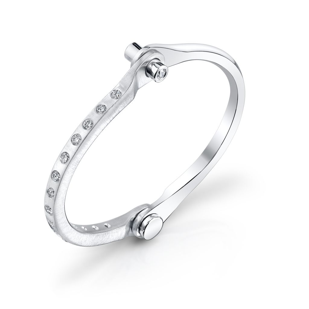 14K Solid White Gold, Pave White Diamond Handcuff<br />