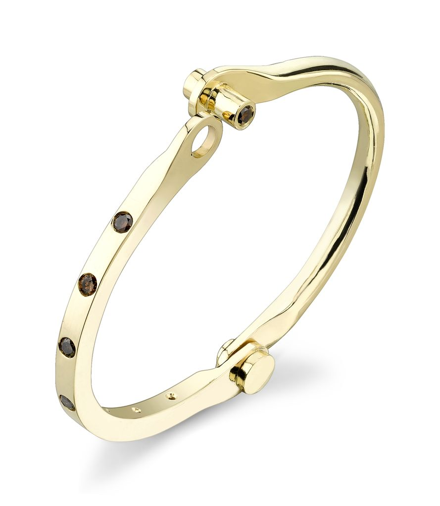 14K Yellow Solid Gold, Brown Diamond Burnished Handcuff<br />