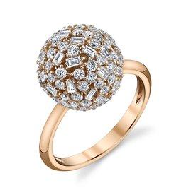 Mixed Cut Diamond Ball Ring