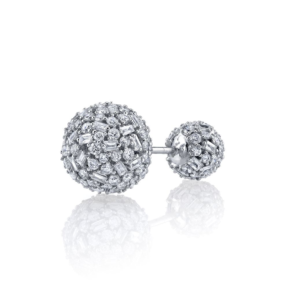 18K White Gold Pave Mixed Cut Diamond Double Ball Stud<br /> 2.65cts diamonds