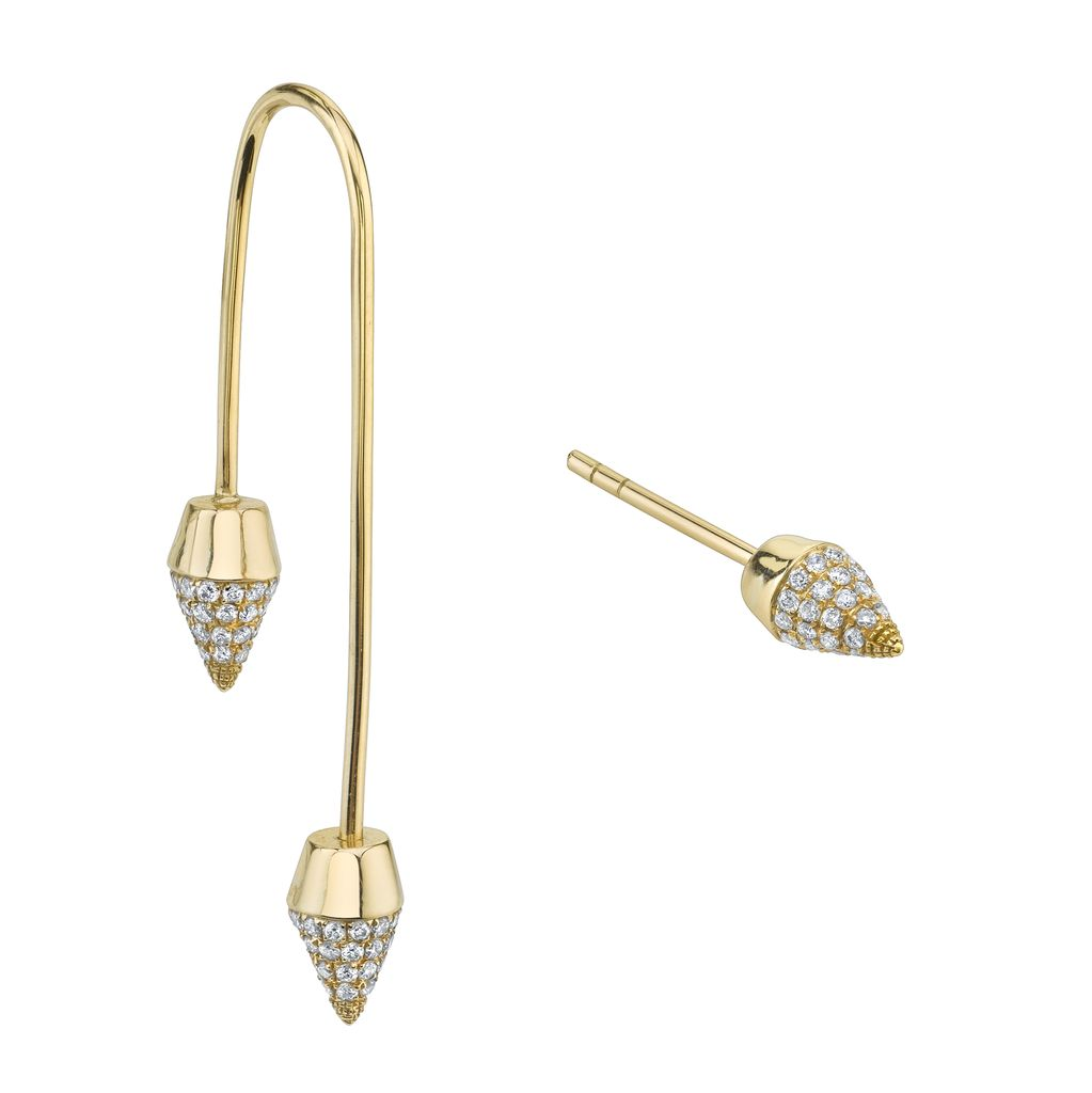 18K Yellow Gold, Pave Diamond Double Spike Drop Earring .44cts diamonds