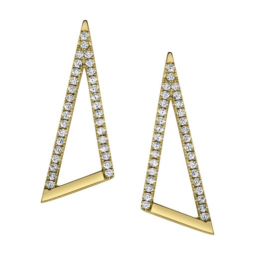 "18K Yellow Gold Pave Diamond ""V"" Ear Climbers - .54K Diamonds"