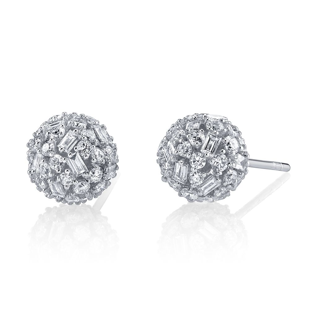 18K White Gold Pave Mixed Cut Diamond Ball Studs<br /> 2.54cts diamonds