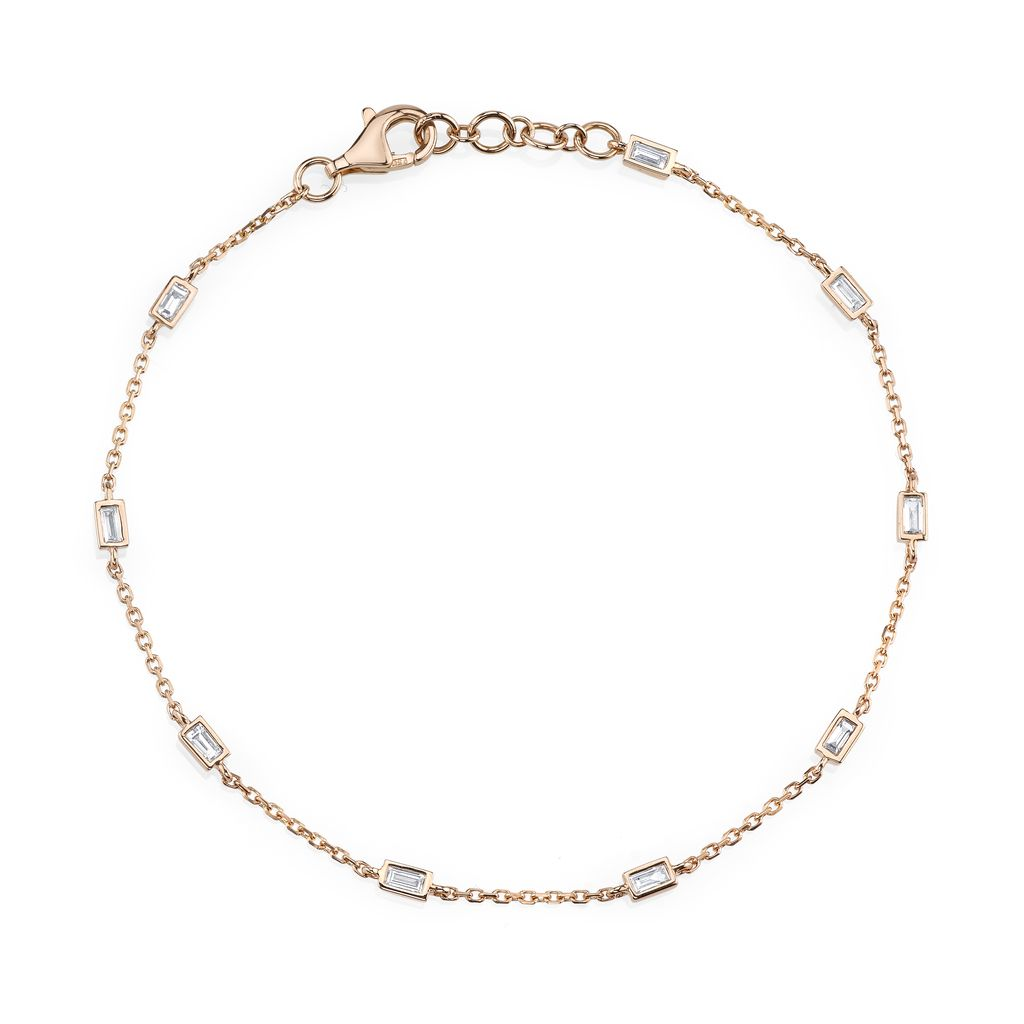 18K Rose Gold  Diamond Baguette By The Yard Bracelet <br /> .34cts baguette diamonds