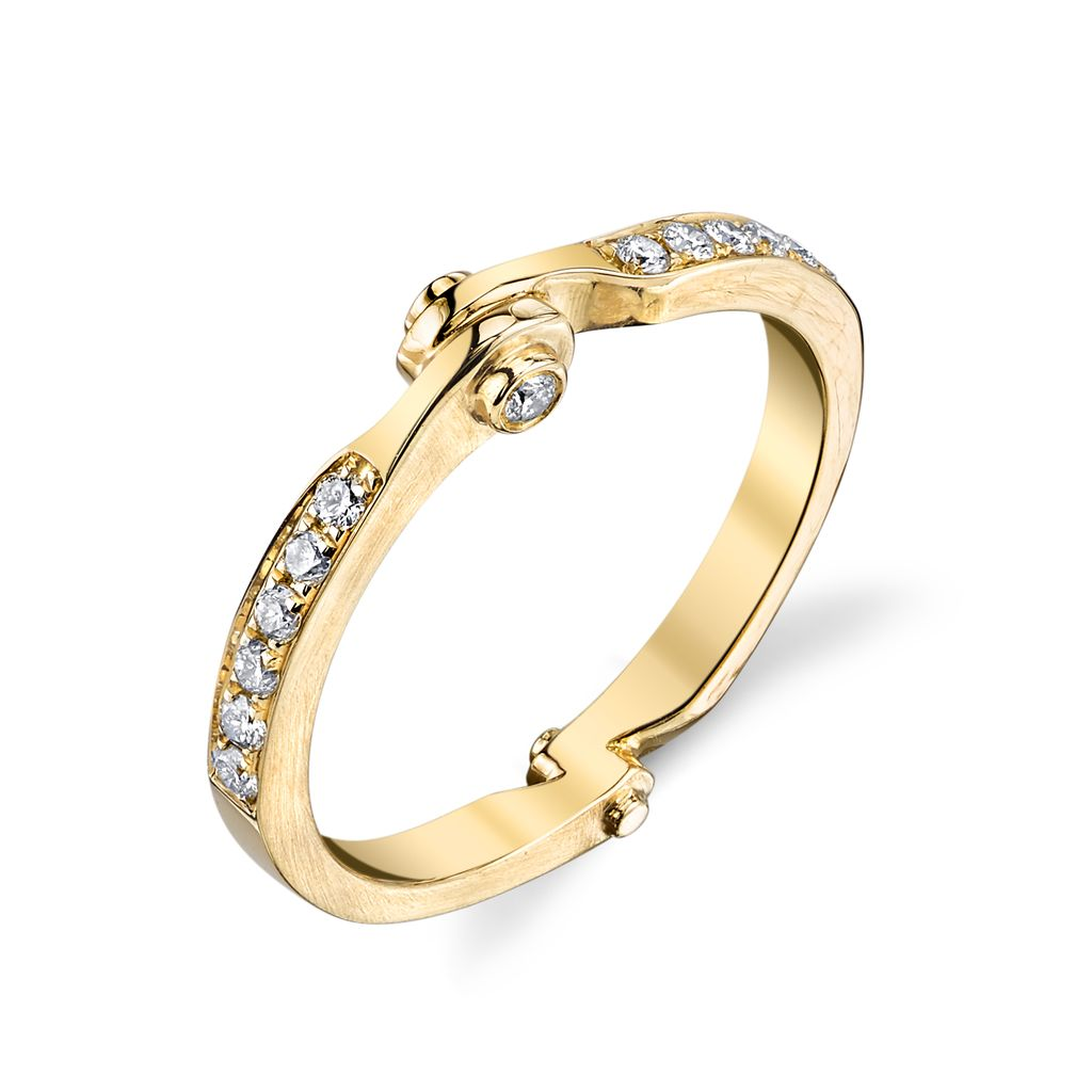 18K Yellow Gold Diamond Handcuff Band<br />.20cts diamonds
