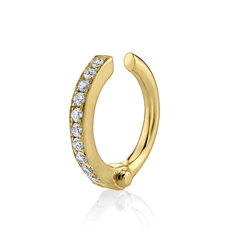 18K Yellow Gold Pave Diamond Handcuff Earcuff.07cts diamonds