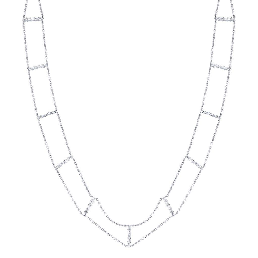 18K White Gold Diamond Baguette Chain Choker<br /> 1.59cts  baguettes