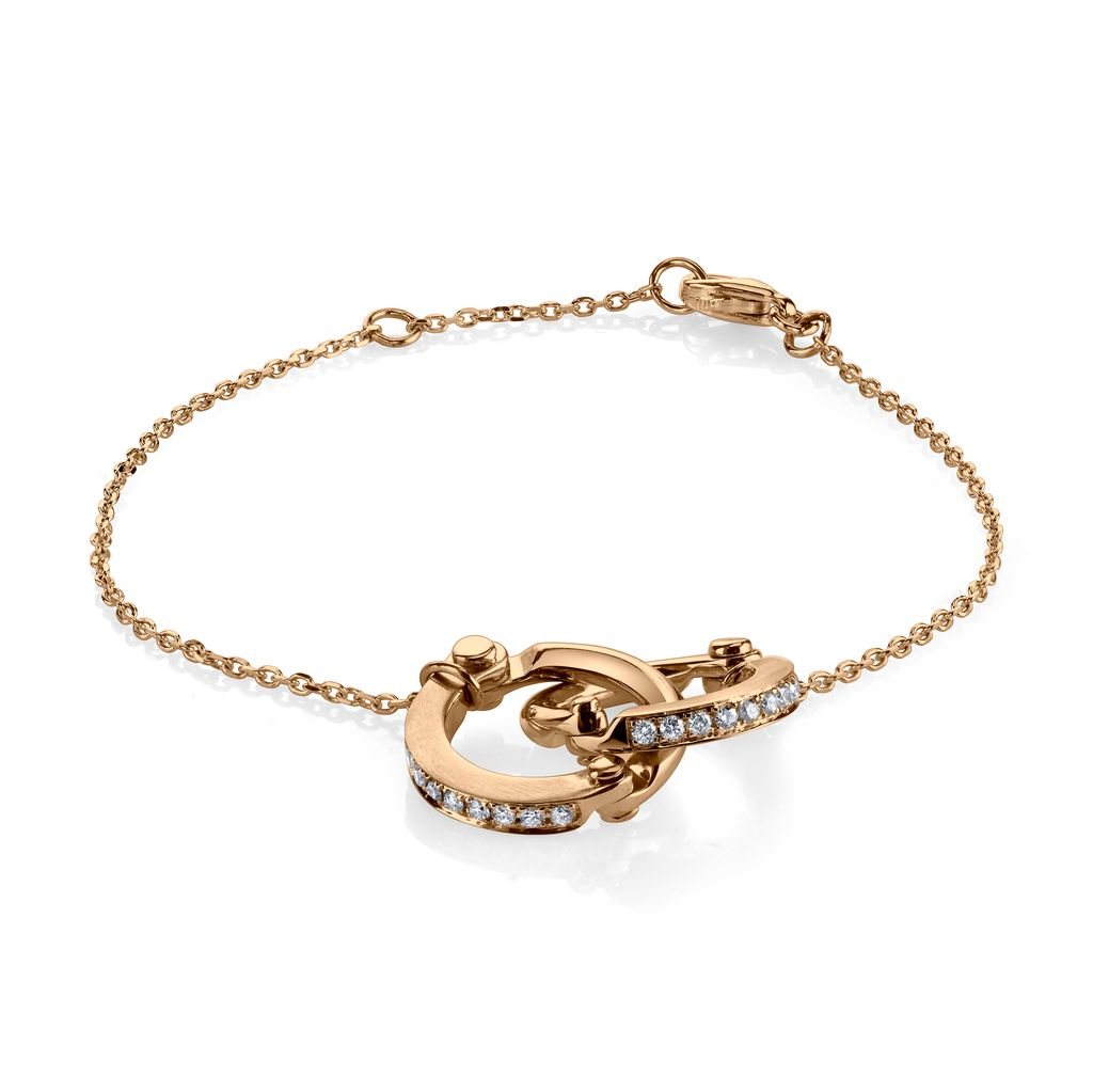 18K Rose Gold, Pave Diamond Handcuff Chain Bracelet<br />