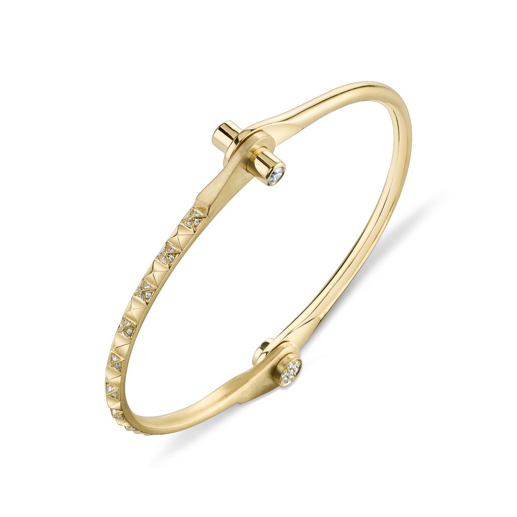 18K Yellow Gold Pave Skinny Pyramid Handcuff w/ White Diamonds<br />