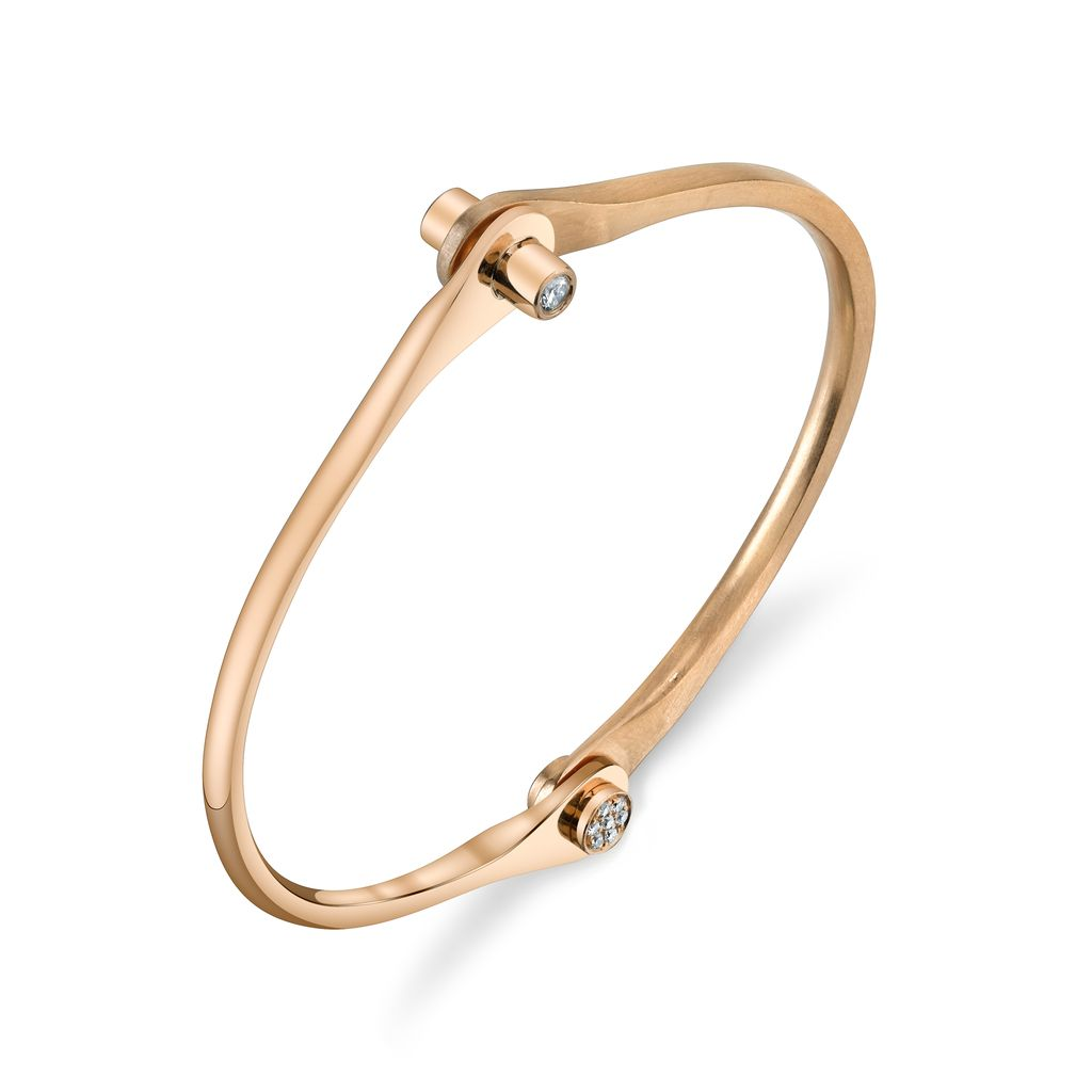 18K Rose Gold Skinny Handcuff w/ Diamond Knobs<br />