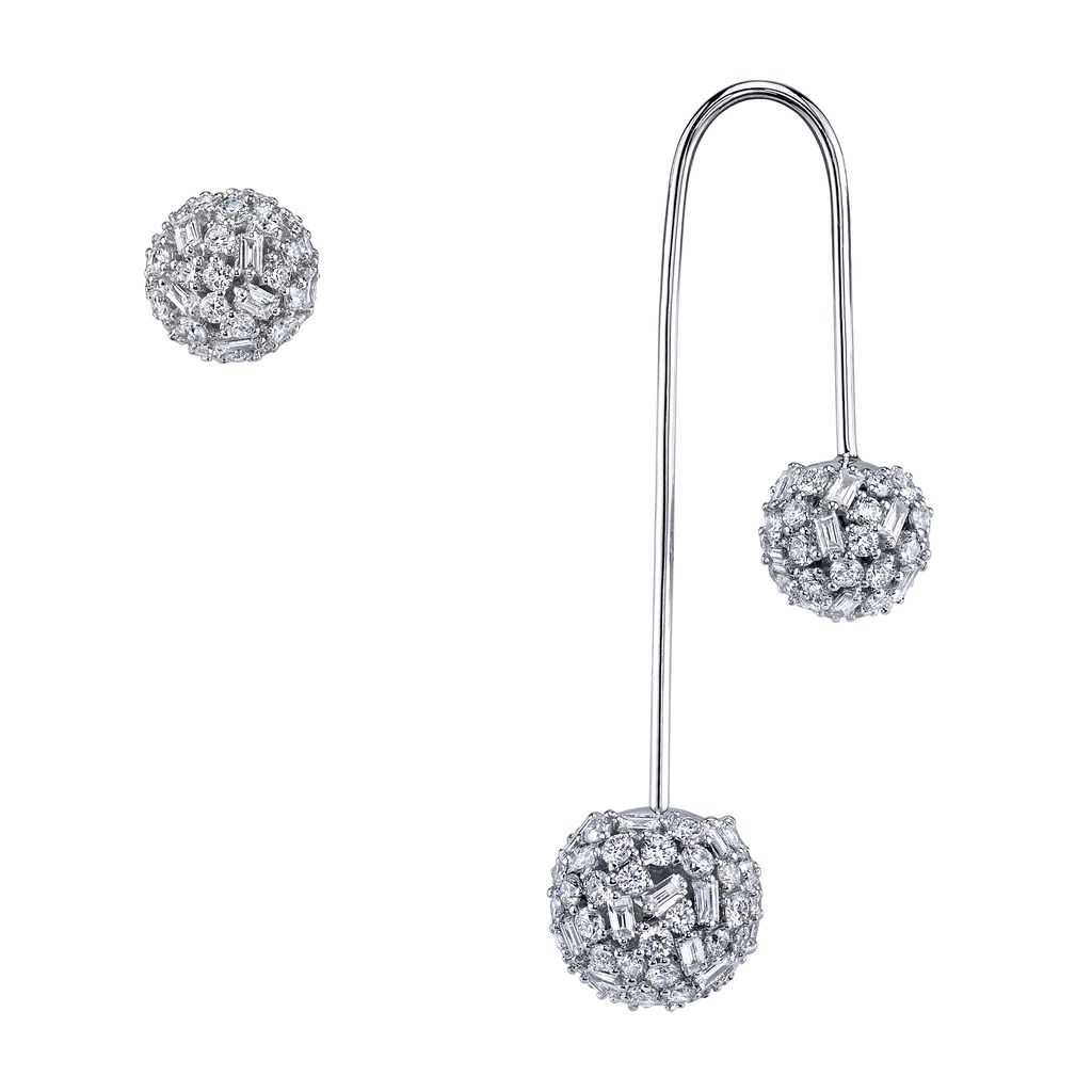 18K White Gold Pave Mixed Cut Diamond Drop Ball Earring with Stud<br /> 2.75cts diamonds