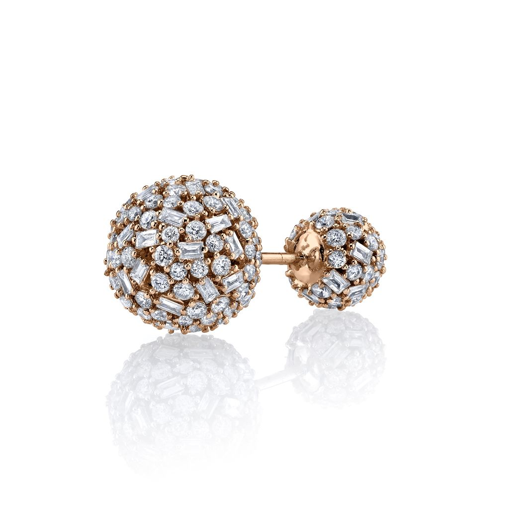 18K Rose Gold Pave Mixed Cut Diamond Double Ball Stud<br /> 2.65cts diamonds