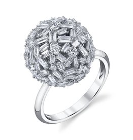 Mixed Cut Diamond Ball Ring