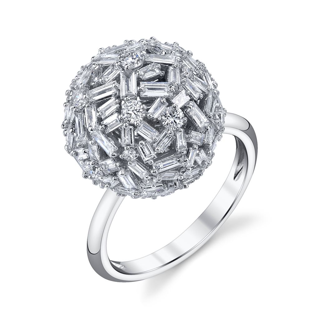 18K White Gold Large Pave Mixed Cut Diamond Ball Ring<br /> 3.61cts diamonds