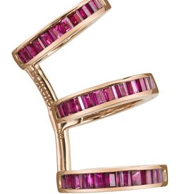 Ruby Baguette Triple Ear Cuff