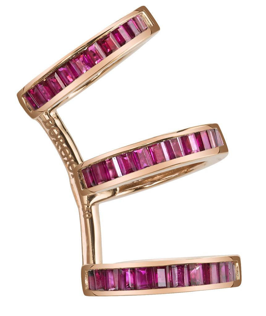 18K Rose Gold, Ruby Baguette Triple Earcuff1.19cts ruby