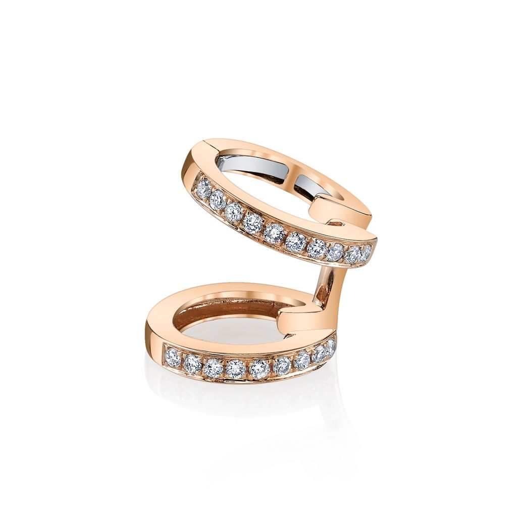 18K Rose Gold, Pave Diamond Multi Earcuff<br />