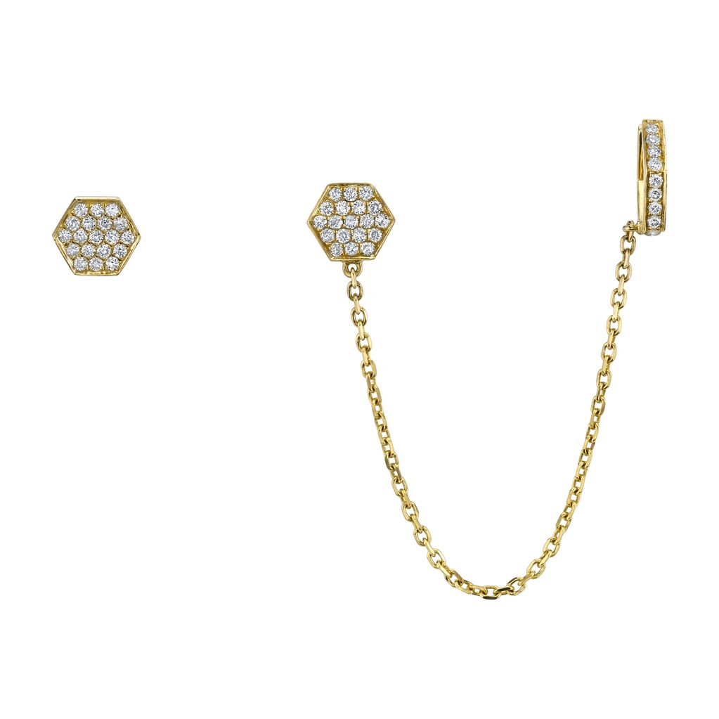 18K Yellow Gold Diamond Octagon Chain Earcuff<br />