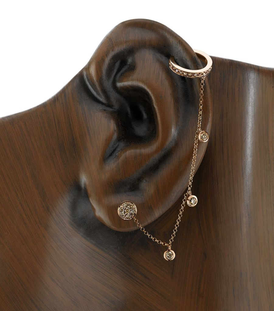 18K Rose Gold, Rosecut Brown Diamond  Chain Earcuff<br />